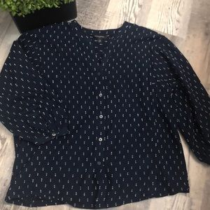 Banana Republic Dot Navy Buttondown Blouse Top XS